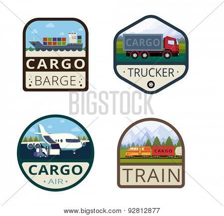 Cargo Vintage Labels vector icon design collection. Shield banner sign. Transportation Delivery Logos. Ship, Truck, Airplane, Train flat icons.
