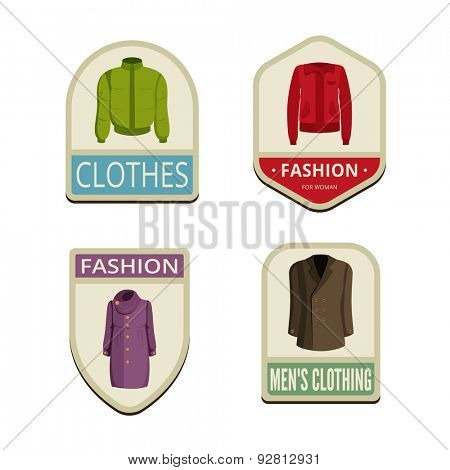 Clothes Vintage Labels vector icon design collection. Shield banner sign. Autumn Winter Outerwear Logos. Jackets, coats flat icons.
