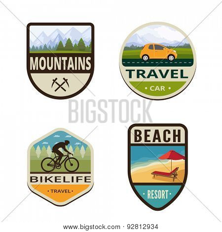 Tourism Vintage Labels vector icon design collection. Shield banner sign. Travel Logo. Mountains, Car, Bicycle, Beach flat icons.