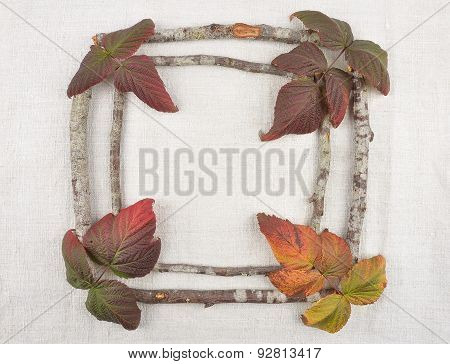 Wooden Frame With Bramble Leaves