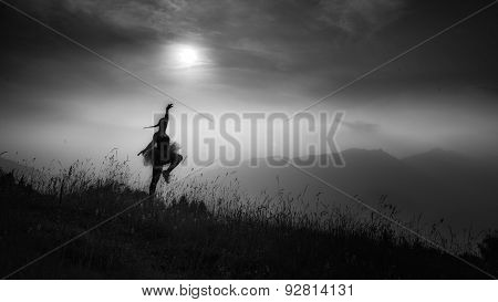 Woman Freedom In Nature, Black And White Image