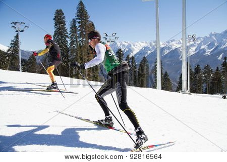 SOCHI, RUSSIA - MARCH 7: World Cup Biathlon in Sochi on march 7, 2013. The combined ski-biathlon complex