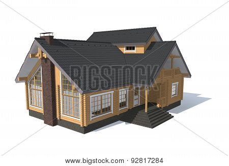 3D Architecture Model House  Isolated On White