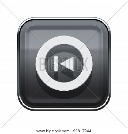 Rewind Back Icon Glossy Grey, Isolated On White