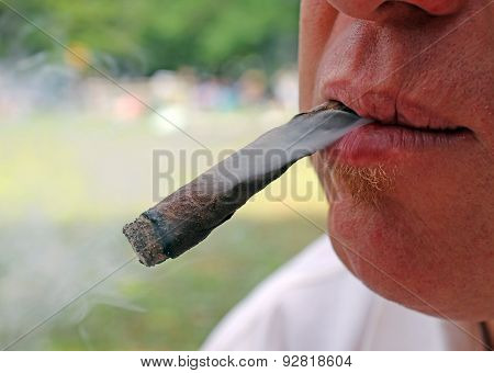 Cigar In Mouth Of Smoker