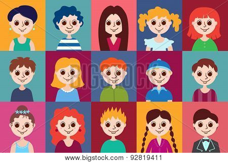 Set Of Cartoon Avatars