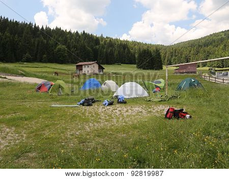 Dome Tents In The Campsite Of Boyscouts
