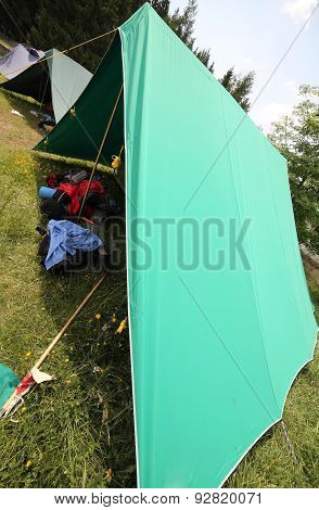 Tent Of Boy Scout Camp With Backpacks