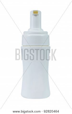 Gel Foam Or Liquid Soap Dispenser Pump Plastic White Bottle On White Background