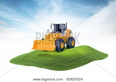 Island With Excavator Machine Floating In The Air On Sky Background
