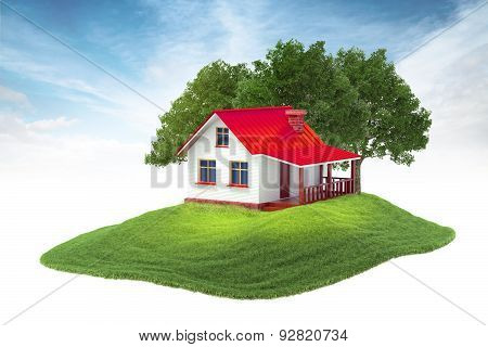 Island With House And Trees Floating In The Air On Sky Background