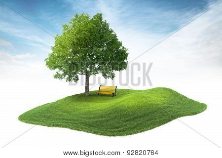 Island With Tree And Bench Floating In The Air On Sky Background