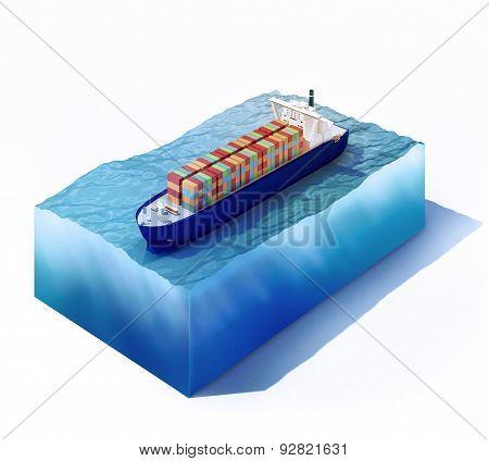 Cargo Vessel On Part Of Ocean