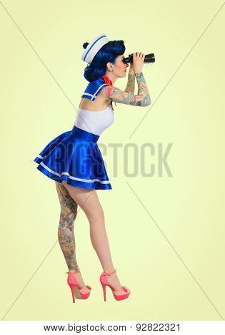 Girl with binoculars retro style