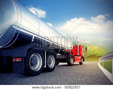 Red Truck On Asphalt Road Under Blue Sky