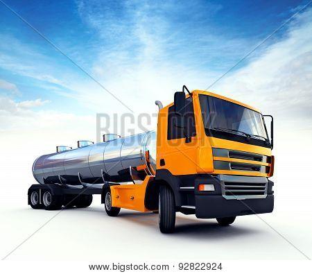 Big Orange Fuel Tanker Truck