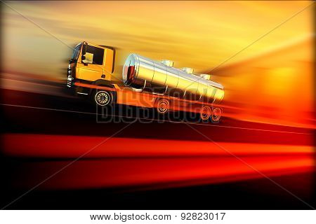 Orange Semi Truck With Oil Cistern On Speed Blured Asphalt Road Highway