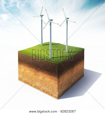 Cross Section Of Ground With Wind Turbine