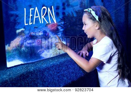 learn against cute girl looking at fish tank