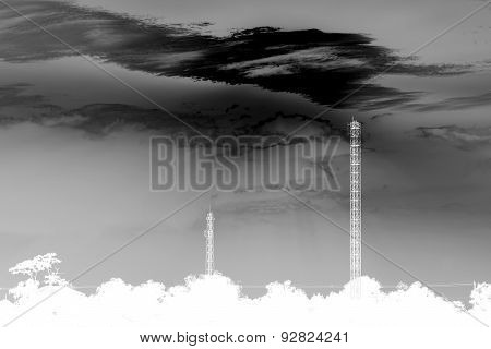 Abstract Black And White Phone Transmitter Towers