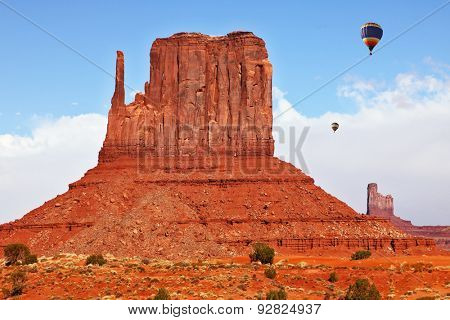 Fly over the valley huge balloons. Navajo Reservation in Arizona and Utah. Stone desert and rocks -