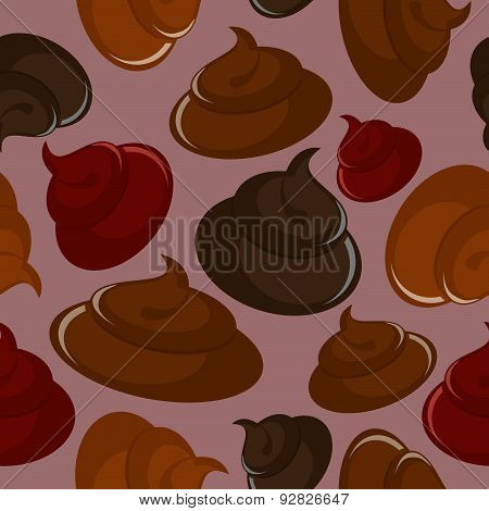 Shit seamless pattern. Vector Brown background.