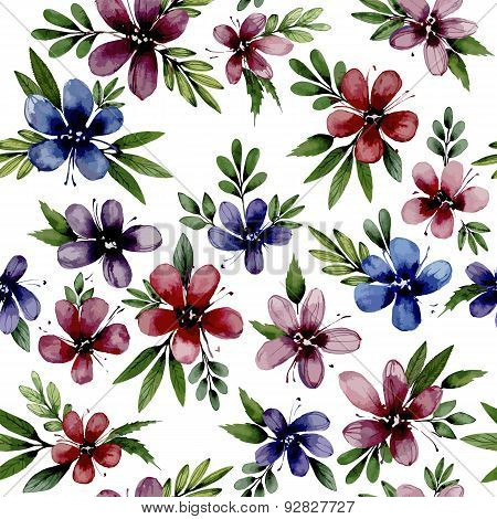 Seamless pattern wiht watercolor flowers