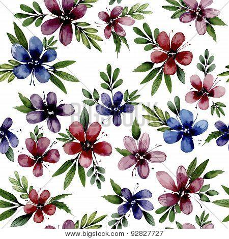Seamless pattern wiht watercolor flowers