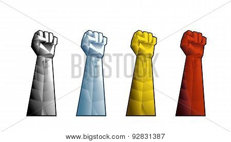 Hand with clenched fist.