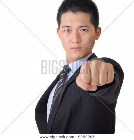 Confident Asian Business Man With Fist