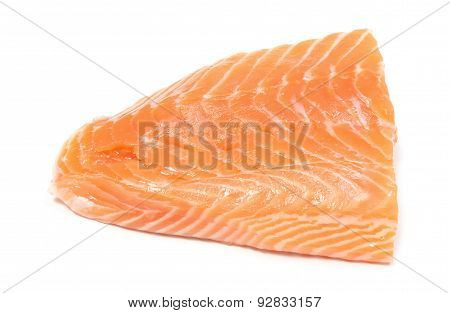 Closeup Of Salmon Steak On White Background
