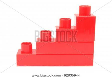 Bar Chart Of Red Building Blocks On White Background