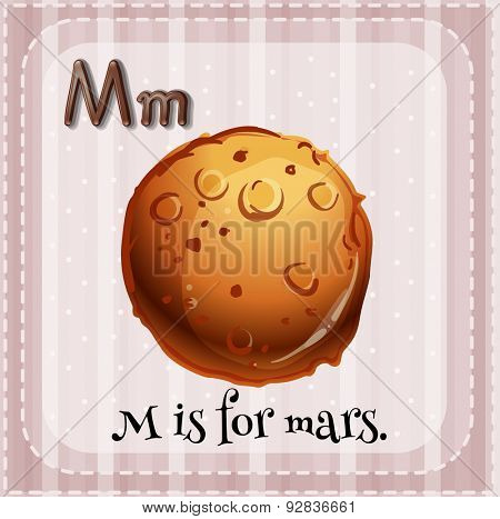 Flashcard of letter M and a picture of Mars
