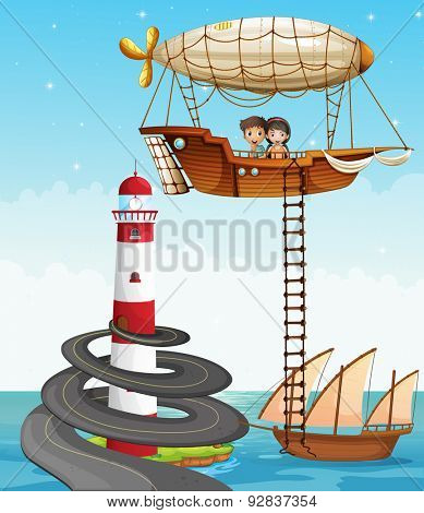 Couple in a parachute in the middle of the ocean
