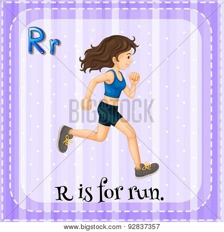 Flashcard of a letter R with a woman running