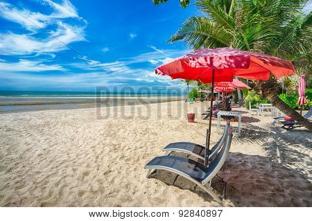 Beautiful Beach With Empty Benches