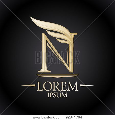 Gold letter N with beautiful wing logo template