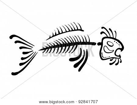 black fish bone, vector illustration, ethno style