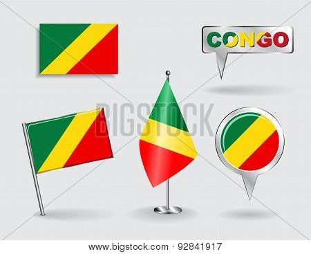 Set of Congolese pin, icon and map pointer flags. Vector
