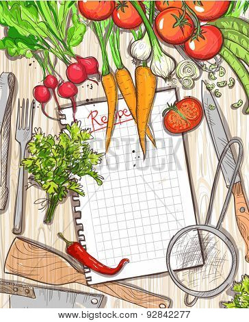 Empty recipe list with place for text with healthy organic vegetables and kitchen utensil on a wooden table background, Eps10.