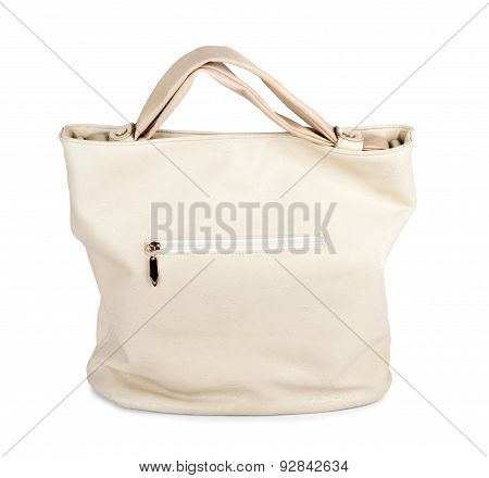Elegant Ladies Beige Handbag Isolated