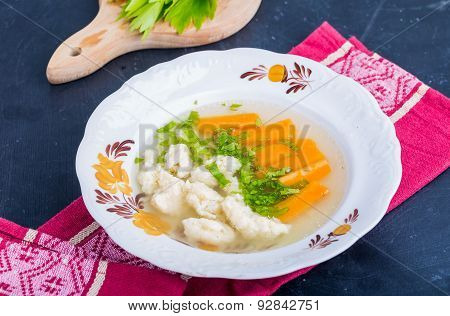 Chicken Broth With Carrots And Fresh Lovage