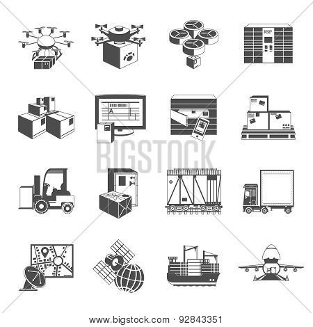 New logistic icons set black