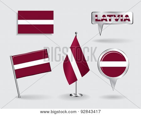 Set of Latvian pin, icon and map pointer flags. Vector