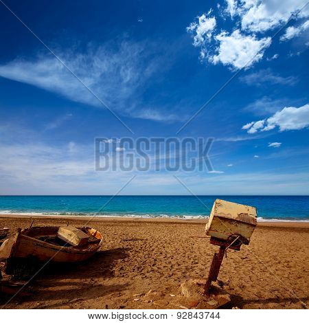 Almeria Cabo de Gata old winche in San Miguel beach of Spain
