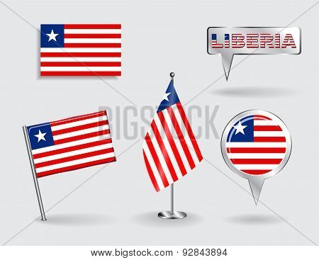 Set of Liberian pin, icon and map pointer flags. Vector