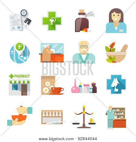 Pharmacicst flat icons set