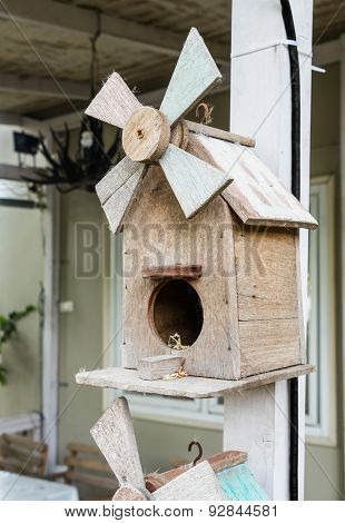 Wooden Bird House Hanging With Human House