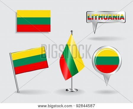 Set of Lithuanian pin, icon and map pointer flags. Vector