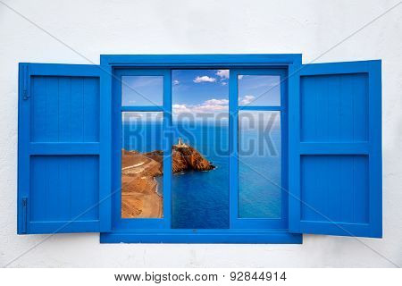 Almeria view from blue window of Cabo de Gata lighthouse photo mount